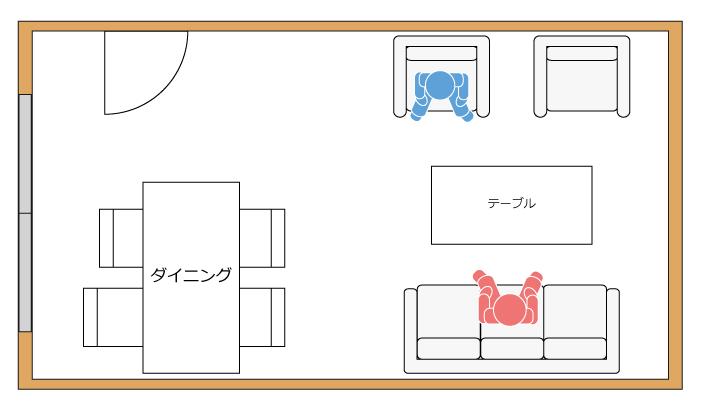 リビングに対面型にソファを配置する