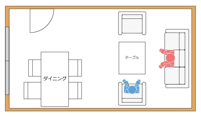 リビングにU字型にソファを配置する