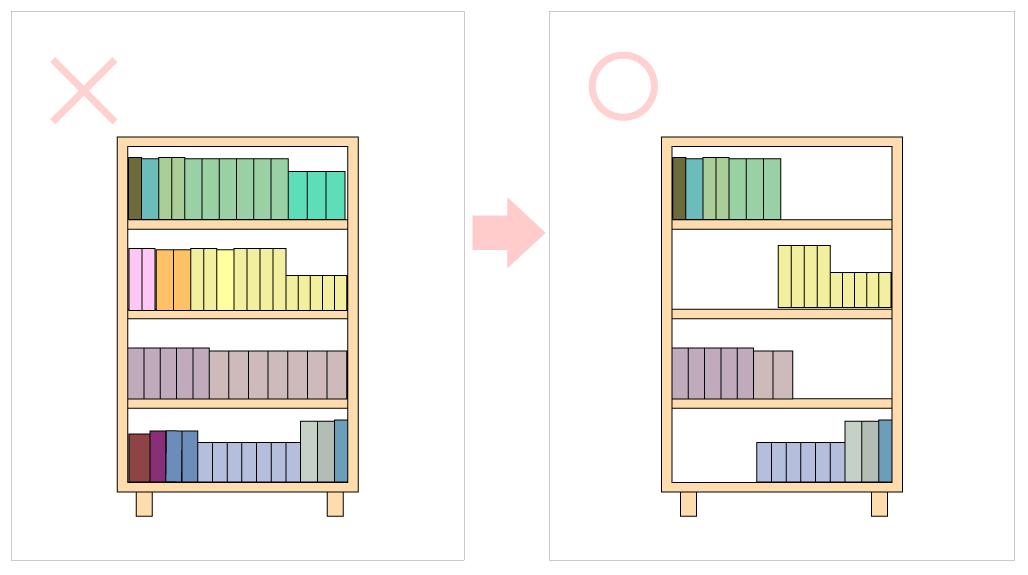 スキマで余裕を見せる本の収納