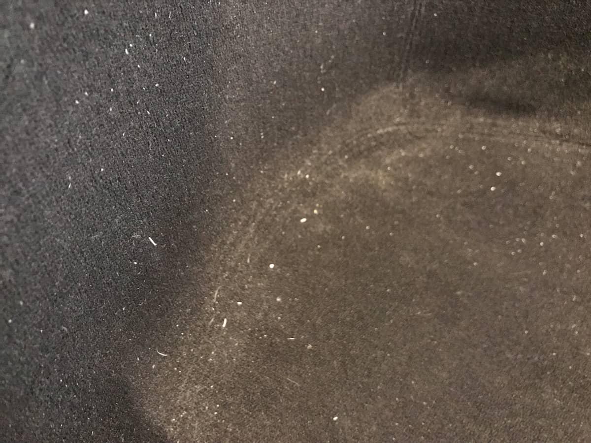黒い生地色のソファについたゴミ