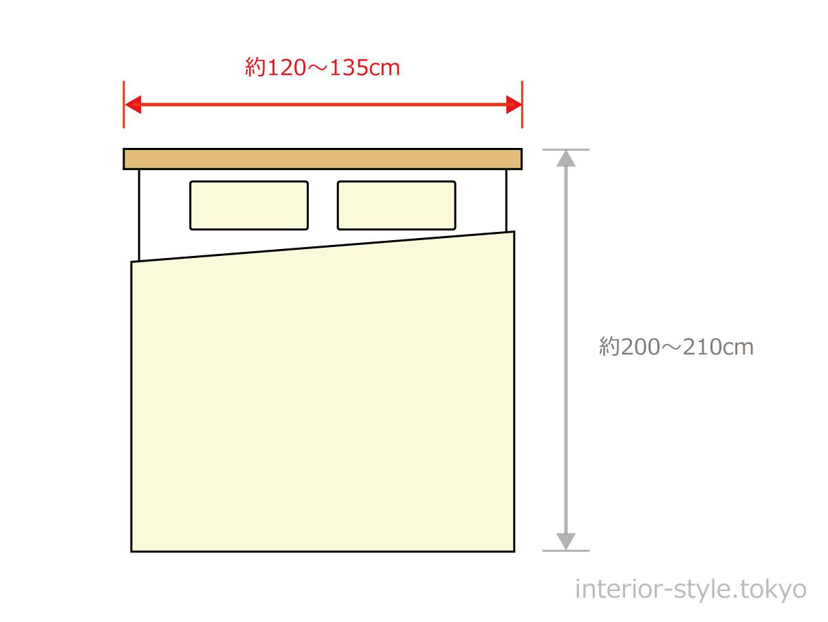 セミダブルサイズベッドの寸法