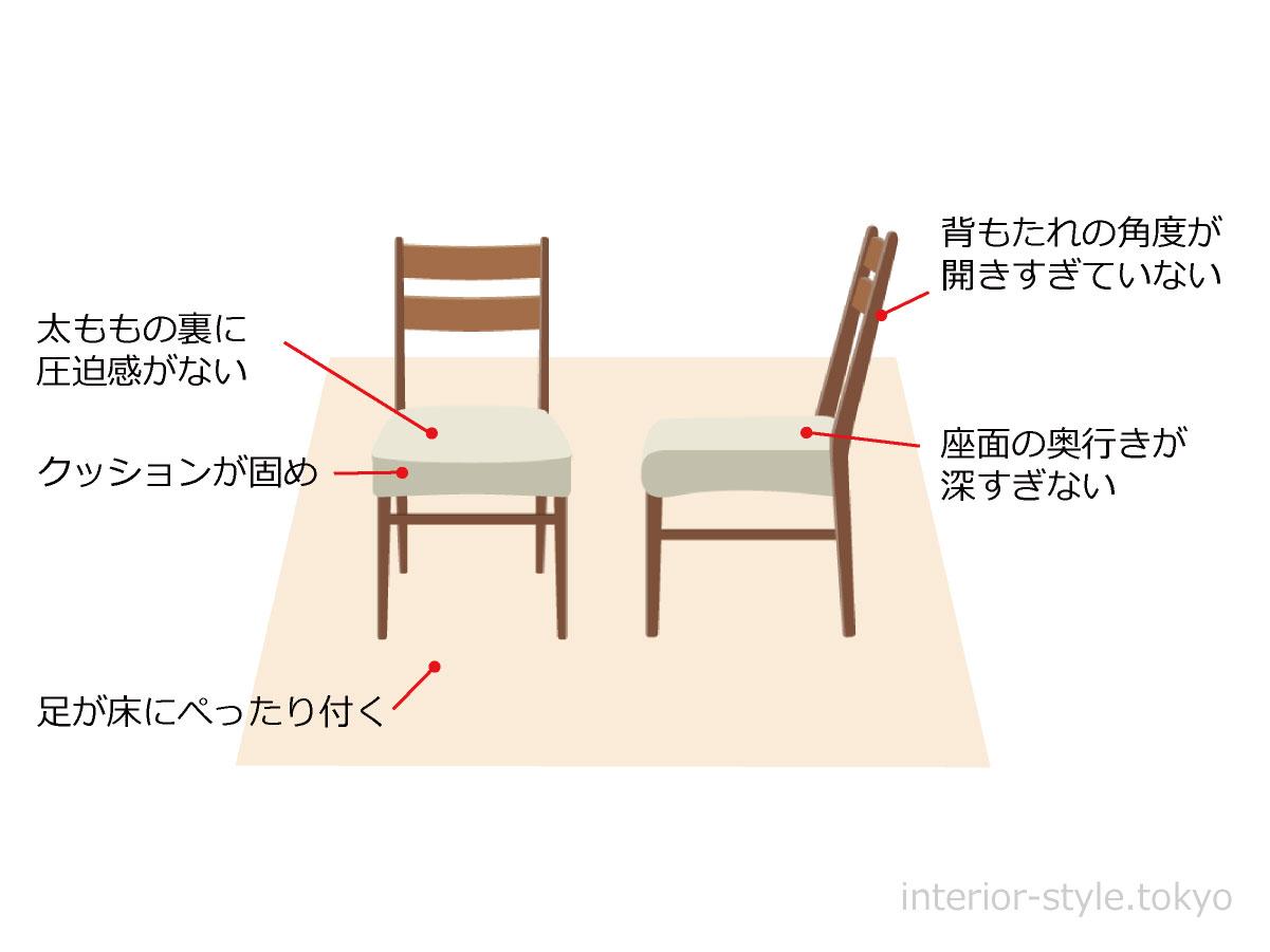 座りやすいダイニングチェア選びのポイント