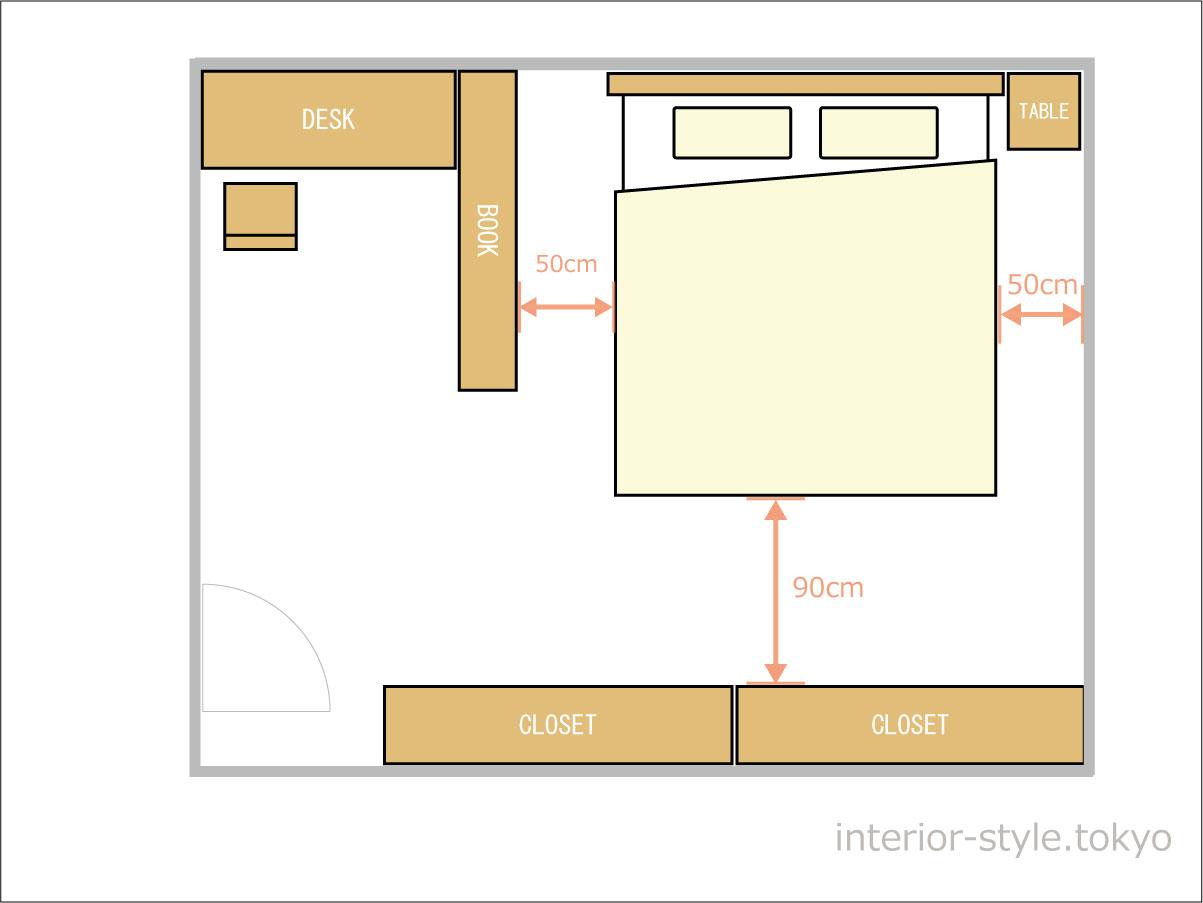 10畳の寝室にダブルベッドを配置した例