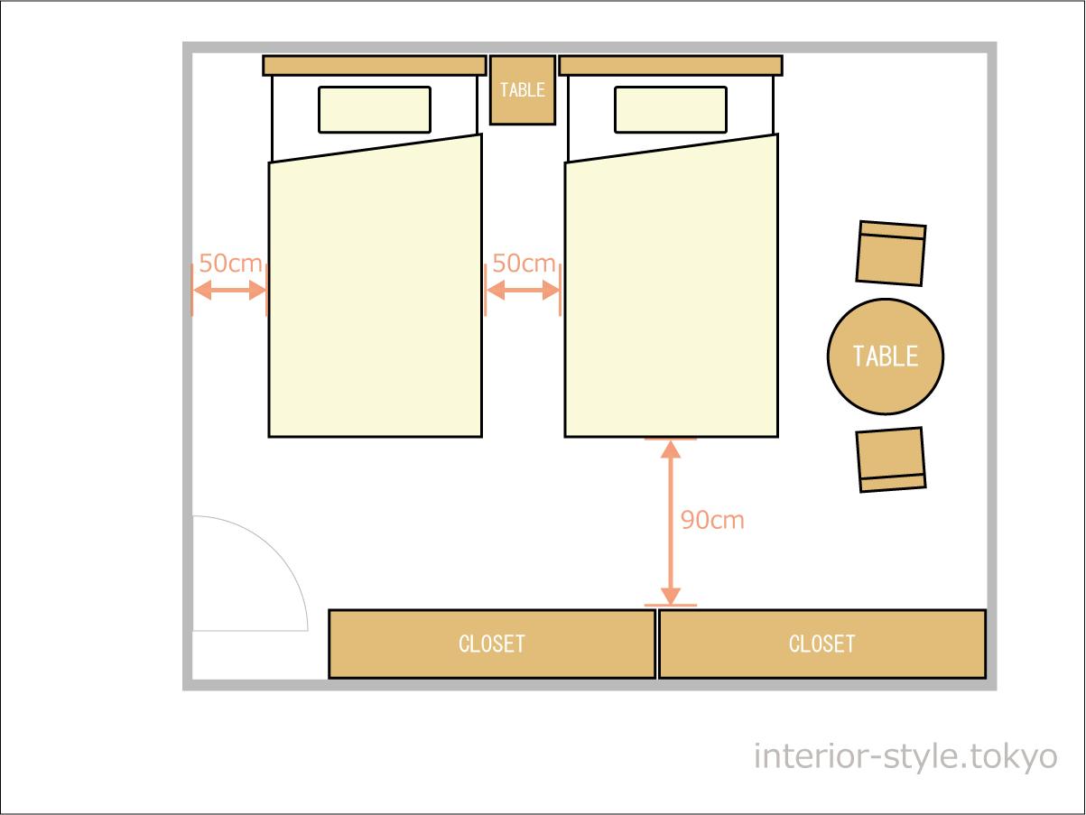 10畳の寝室にシングルベッドを配置した例