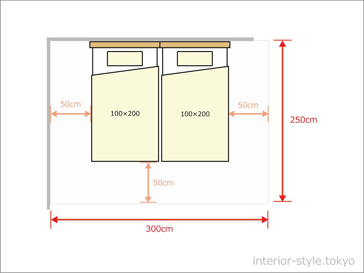 シングルベッド2台を寄せて配置するのに300×250cm以上の広さが必要
