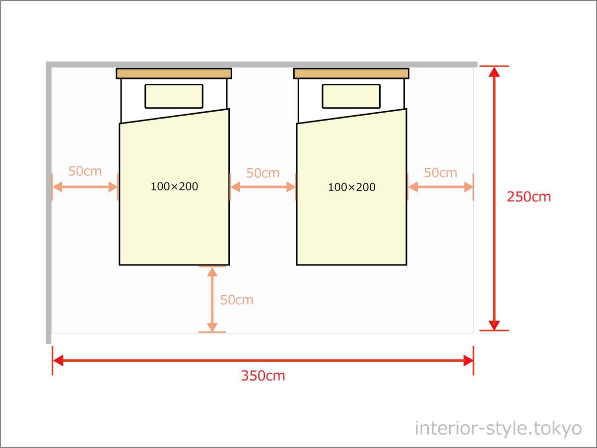 シングルベッド2台を離して配置するのに350×250cm以上の広さが必要