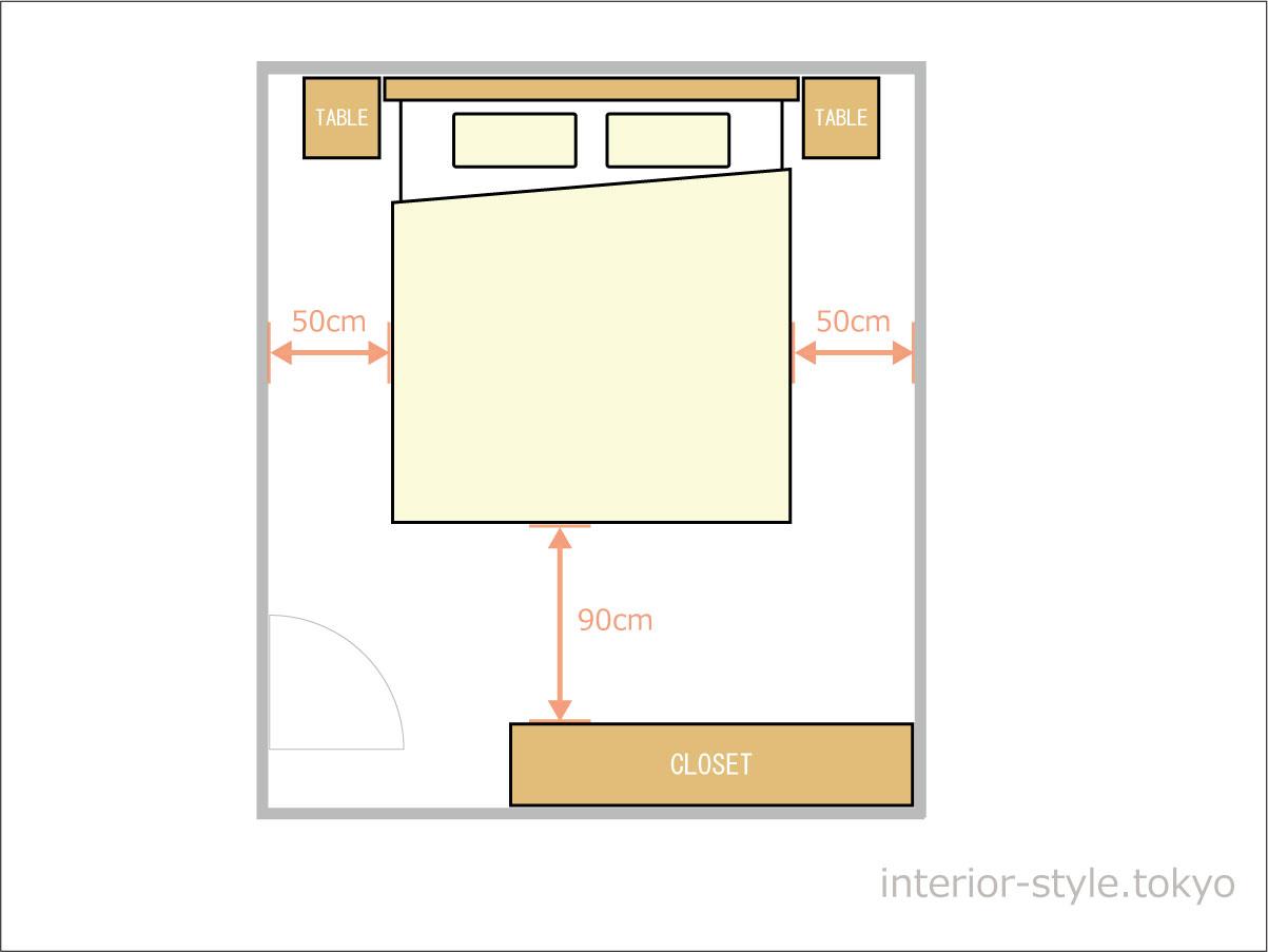 6畳の寝室にダブルベッドを配置した例