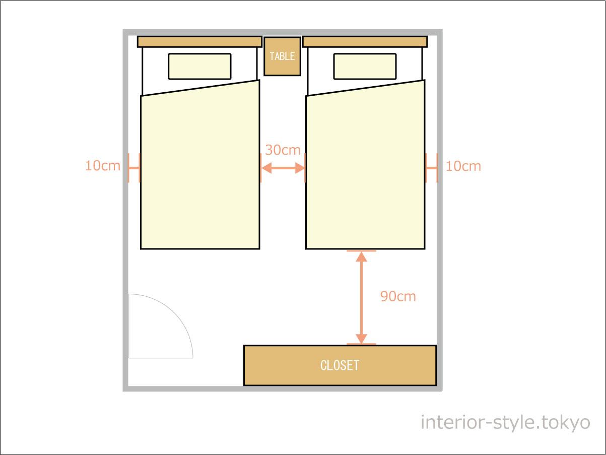 6畳の寝室にシングルベッドを配置した例