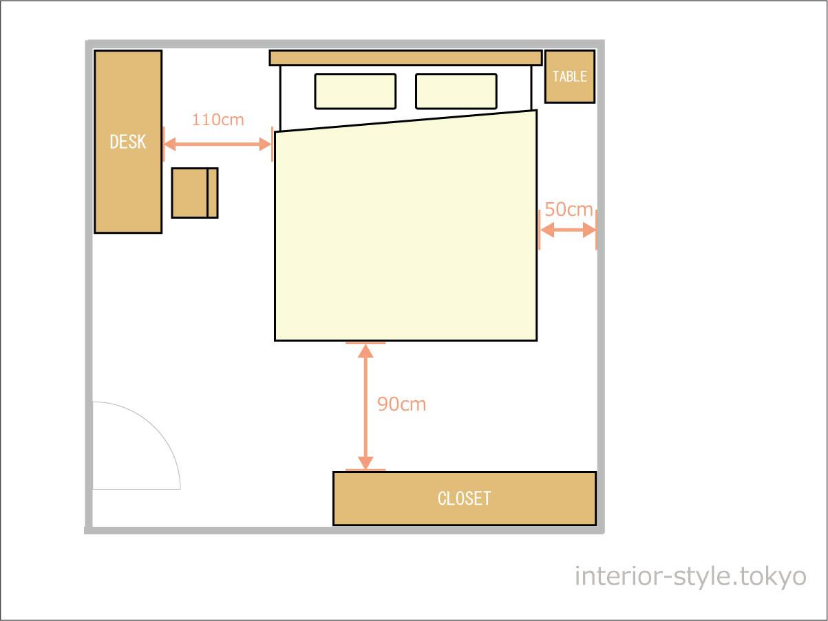 8畳の寝室にダブルベッドを配置した例