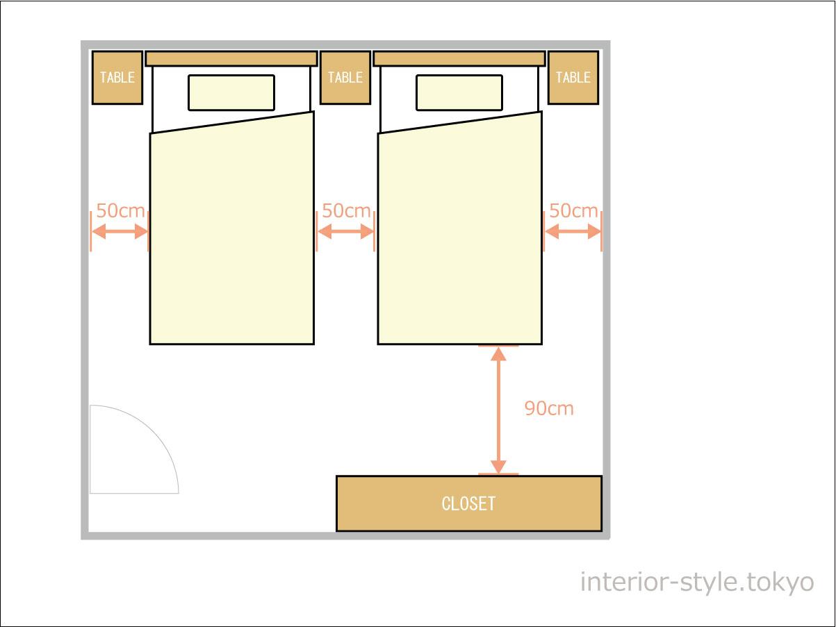 8畳の寝室にシングルベッドを配置した例
