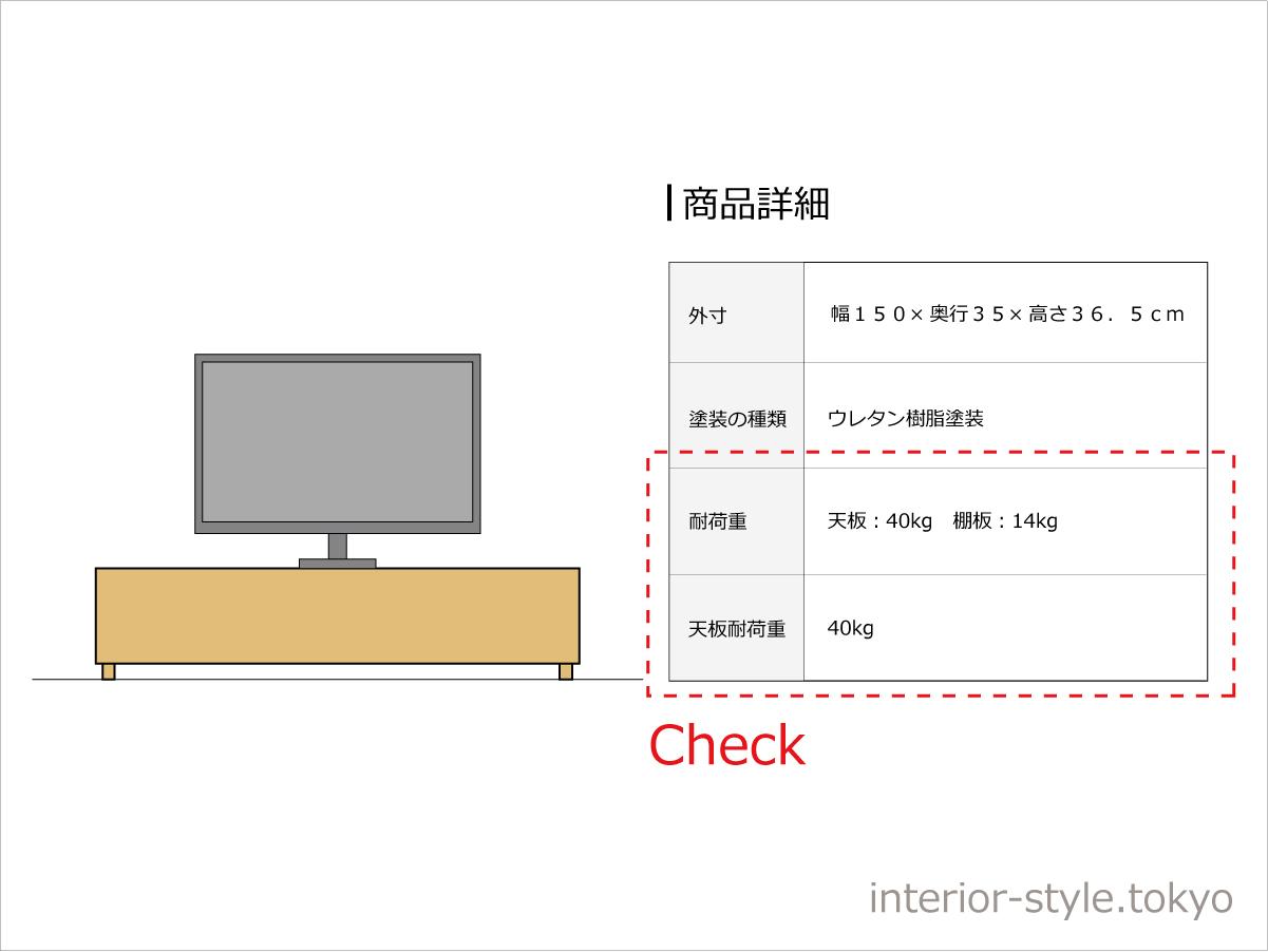テレビボードの耐荷重の表記例