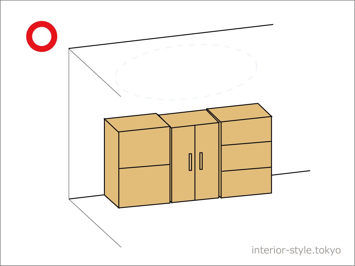 背の低い家具を配置した部屋