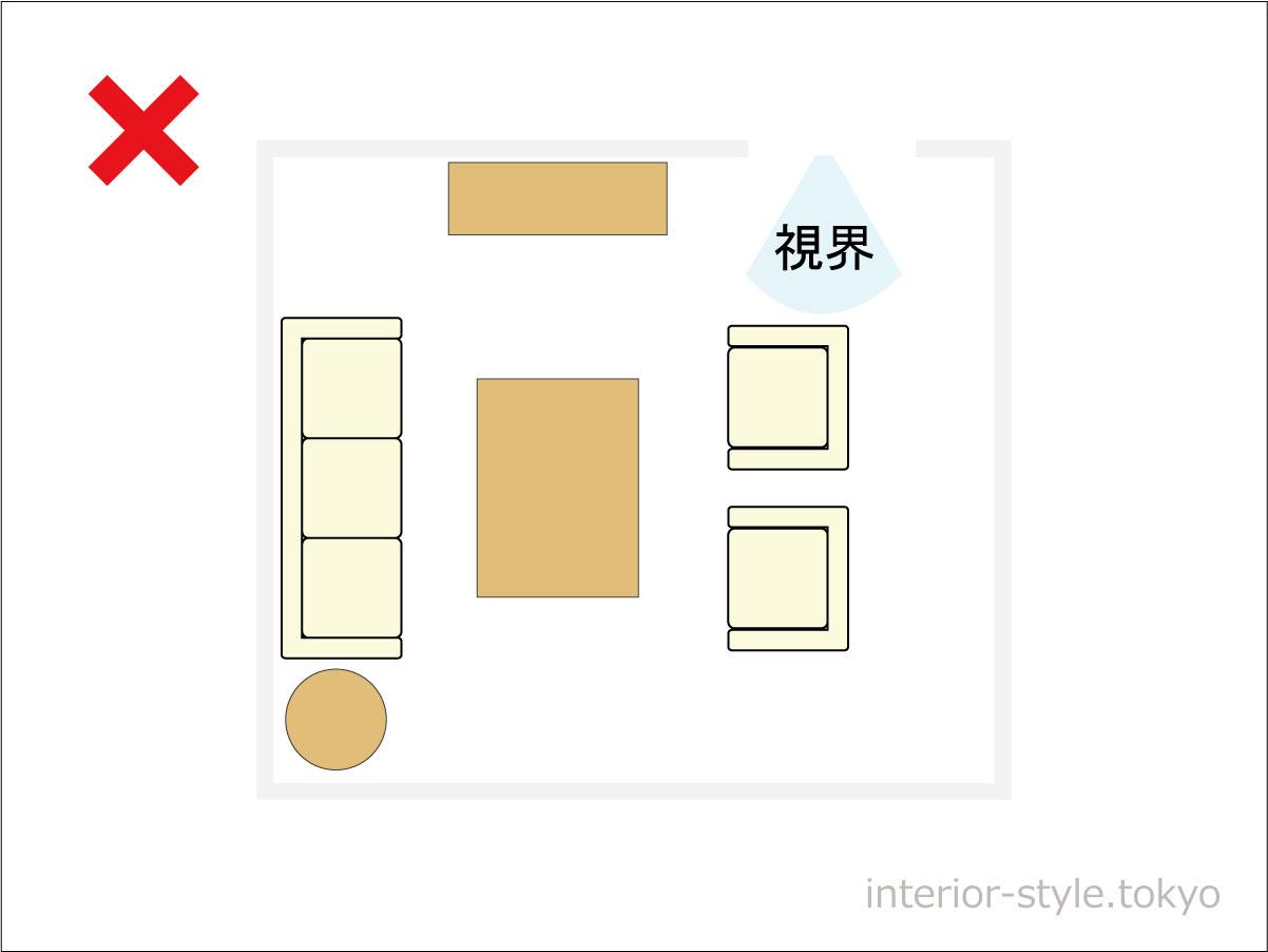 ドアの前に家具がある部屋