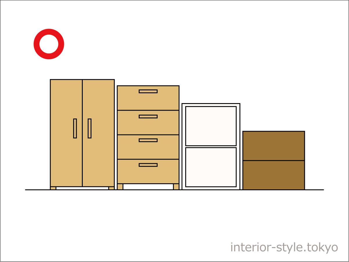 家具を背の高い順に並べた配置