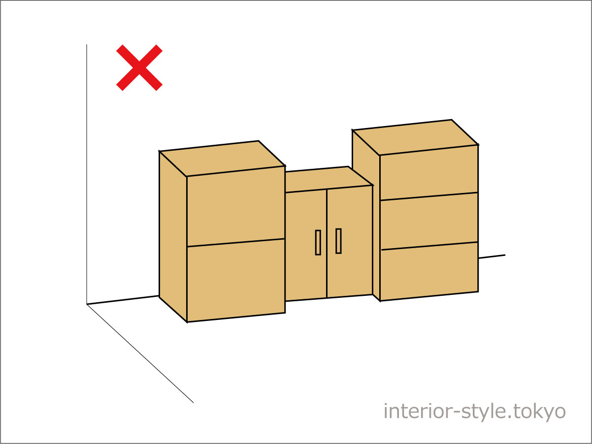 隣り合った家具との前面のラインがそろっていない配置