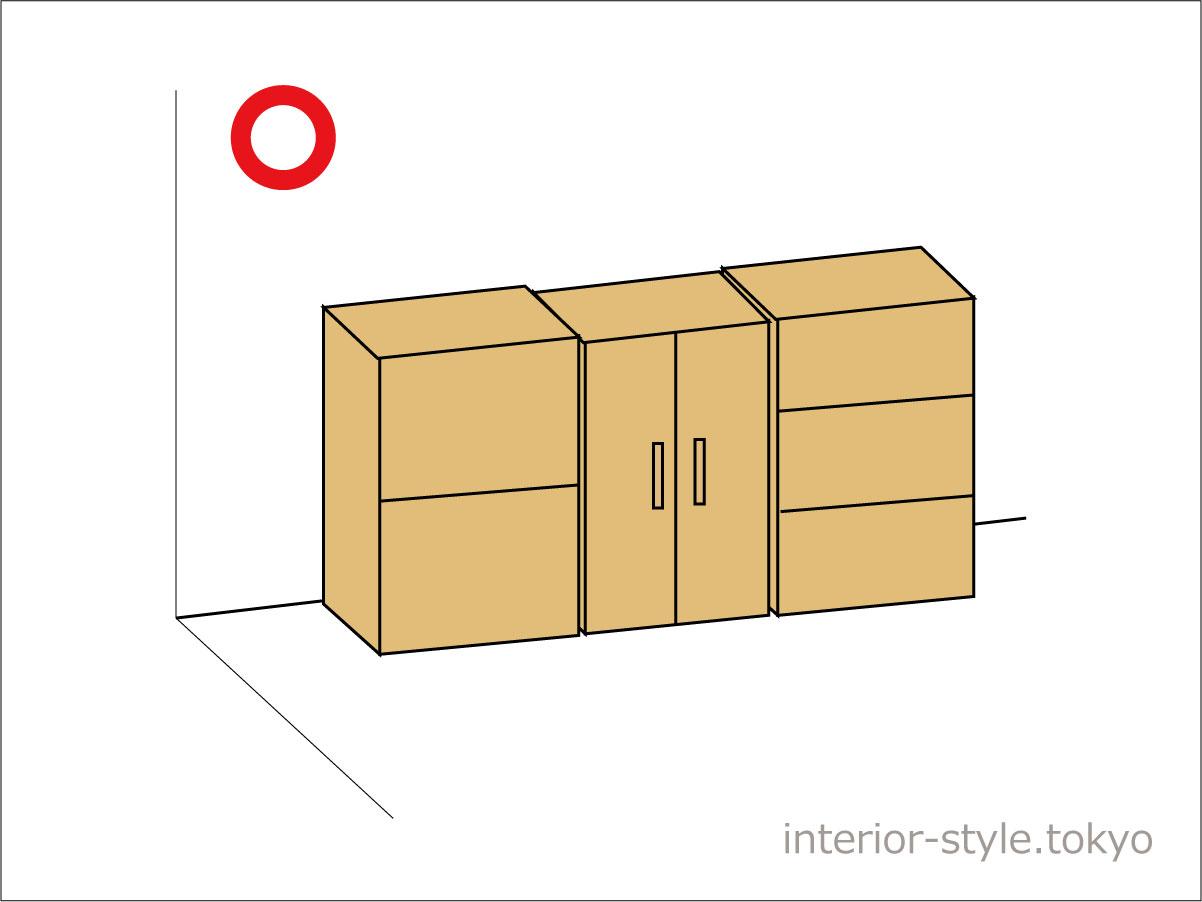 隣り合った家具との前面のラインがそろった配置