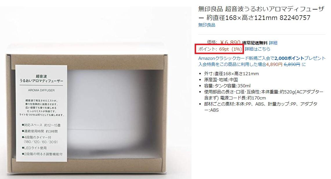 無印良品の購入でたまるAmazonポイント